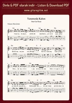 music songs Onur Can zcan - Yaramzda Kalsn - Gitar - Nota - Tab Guitar Tabs Songs, Guitar Notes, Music Songs, Love Story, Sheet Music, Guitars, Guitar Sheet Music, Piano, Music Sheets