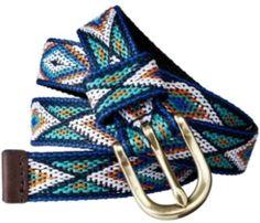 Blue skinny patterned web belt.