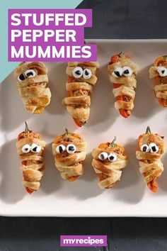 """An adorable take on jalapeño poppers, these sweet pepper """"mummies"""" are stuffed with a gently spicy mix of Mexican chorizo, cream cheese, sharp cheddar, and cilantro.#halloween #halloweenrecipes #myrecipes Cream Cheese Crescent Rolls, Crescent Roll Dough, How To Cook Chorizo, Mexican Chorizo, Chorizo Sausage, Jalapeno Poppers, Stuffed Sweet Peppers, Halloween Treats, Cilantro"""