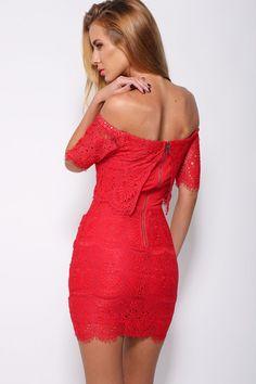 Red Lace Surcoat Off-shoulder Mini Dress Lace Summer Dresses, Elegant Dresses, Casual Dresses For Women, Ladies Dresses, Romper With Skirt, Dress Skirt, Tight Dresses, Short Dresses, Tight Skirts