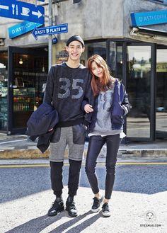 Korean Couple Style SEOUL : Lee se in, Yu han na Byeyesmagon October 14, 2014 . Lee se in, Yu Han na (21,24)/ Model, shop staffJacket : H&M, H&M Top : AFM, AFM Bottom: AFM, none Shoes : nike jordan, superga