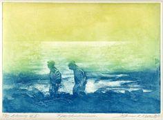 Fjærsteinsminne (etching, 2011 20 x 28 cm), Bjørnar K. Meisler.