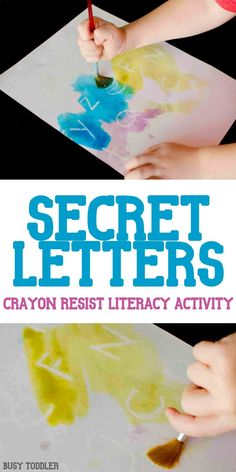 Secret Letters Activity: an awesome crayon resist literacy activity thats so much fun! A quick and easy indoor activity for toddlers and preschoolers; alphabet activity