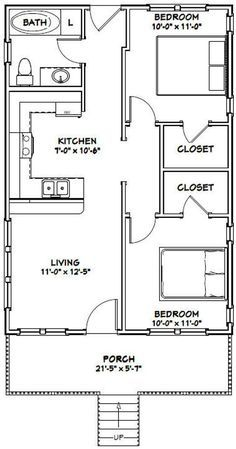 Guest House Plans, 2 Bedroom House Plans, Small House Floor Plans, Cabin Floor Plans, Dream House Plans, Tiny House 2 Bedroom, Guest Houses, Garage Apartment Floor Plans, Garage Plans