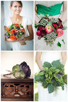 con verduras! Ramo Bouquet de novia. Hermosas flores para tu boda! www.miboda.tips/