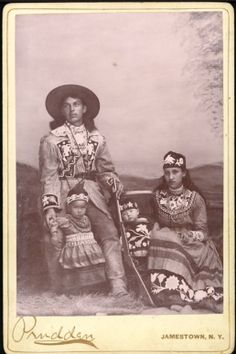 c.1900 cabinet card with amazing Native American beadwork. These are Haudenosaunee (Iroquois) people, possible Kanien'kehaka (Mohawk)