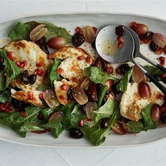 Try this Warm Salad of Haloumi, Grapes, Olives and Pomegranate with Lemon Vinaigrette recipe by Chef Neil Perry.