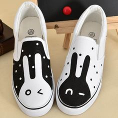 Cute kawaii sweet fashion black and white rabbit couple canvas shoes boots