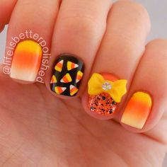 """I can't believe October is half way over already! Here are some cute candy corn nails to get in the Halloween spirit! "" Photo taken by @lifeisbetterpolished on Instagram, pinned via the InstaPin iOS App! http://www.instapinapp.com (10/15/2013)"