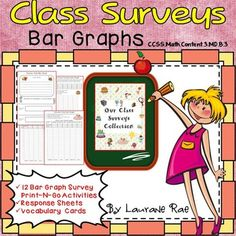(Grades 2-6) This 42 page Bar Graphs Class Surveys collection features  collecting, graphing and interpreting data on topics your students will relate to  perfect for a getting-to-know-you back to school activity, or alternatively for applying graphing skills in real life situations.The bar graphs require students to conduct surveys to collect and tabulate data. $