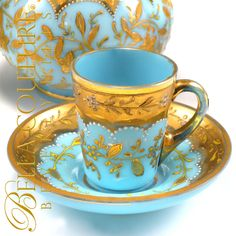 MOSER Floral Gilt Gold Enamel French Bohemian Blue Opaline Glass Miniature Cup & Saucer