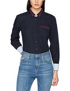 Tommy Hilfiger Women s Jute Shirt LS W2 Long Sleeve Top, Blue (Midnight), c1ffaed236