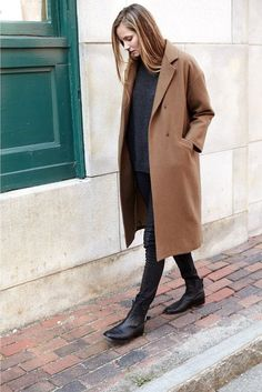 Le Fashion Blog Drop Shoulder Long Camel Coat Oversize Sweater Block Pants #chic #parisian #style #minimal