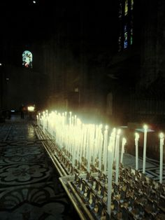 Candles. Interior view of the Duomo,  Milan