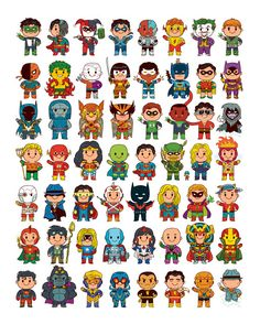 Launching in 30 minutes! This is a variant of the Delightfully Cute poster and includes new characters and costumes. by mattkaufenberg Hero Poster, Cute Poster, Dc Comics Superheroes, Dc Comics Art, Chibi Superhero, Baby Avengers, Marvel Drawings, Loki Marvel, Batman