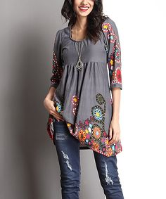 Another great find on #zulily! Charcoal & Red Garden Empire-Waist Tunic by Reborn Collection #zulilyfinds