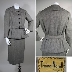 1950s Traina-Norell Grey Wool Tweed Vintage Suit SZ S