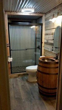 Rustic Bathroom Designs, Rustic Bathroom Decor, Rustic Bathroom Shower, Rustic Decor, Barn Bathroom, Modern Bathroom, Small Bathroom, Garage Bathroom, Master Bathroom