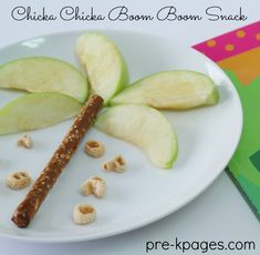 Chicka Chicka Boom Boom Apple and Pretzel Snack for Preschool or Kindergarten. Super fun and easy snack to make after reading the classic children's book Chicka Chicka Boom Boom