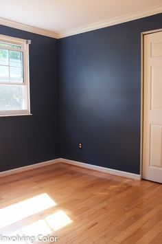 Benjamin Moore Van Deusen Blue...this is my front runner for the bedroom so it's nice to see it all over a bedroom. Nice balance of dark colours with a touch of light. Thought not sure if I would do eggshell...was gonna use flat