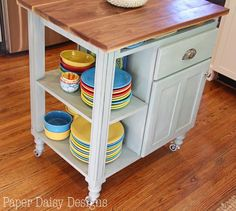 DIY Kitchen Island Cart - Create a rolling island for extra counter space