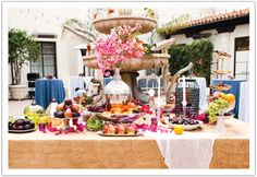 This Persian feast table was definitely a focal point for cocktail hour at a Bel Air Bay Club wedding by Alchemy Fine Events