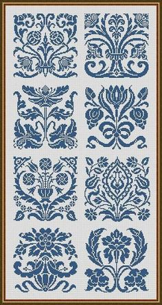 Art Nouveau Motifs Flowers Samplers Monochrome by MyTreasureIsland