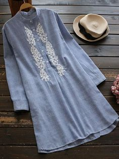 Shein shein vertical striped dolphin hem embroidery dress adorewe com Dress Outfits, Casual Dresses, Casual Outfits, Hijab Fashion, Fashion Dresses, Kids Winter Fashion, Fashion Kids, Modele Hijab, Embroidered Clothes
