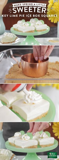 Never leave a slice of pie behind! Leftover key lime pie is the key to these tart, creamy, refreshing no bake IceBox Squares.