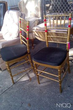 Faith Farm Thrift in Florida has some of the best chair finds - these gold cane chairs with black velvet seats were only $5 each (and they sold!) Lynda Quintero-Davids - Focal Point Styling
