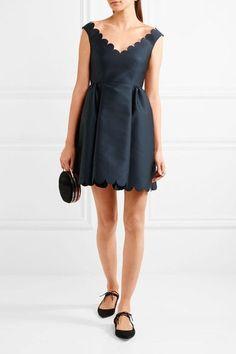 REDValentino | Scalloped twill mini dress | NET-A-PORTER.COM