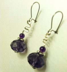 Purple Onyx Earrings - Wire Wrapping on Etsy, $16.00
