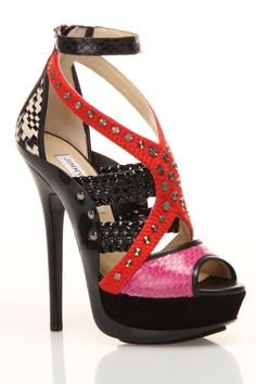 Jimmy Choo Vivienne Sandal In Red Multicolor - $697.99 This is kind of nuts really and I would never wear it but I think every woman should have a pair of crazy-ass shoes!