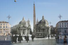 A Piazza del Popolo nel 1908 passavano i tram
