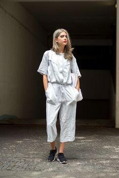 For shorties, your jumpsuit should be cropped higher — around where your calf starts. Then, go nuts — wear it with sneakers, heels, no makeup, or a full face of glam. Jumpsuits can be dressed up or down to mirror whatever mood you're in. #refinery29 http://www.refinery29.com/jumpsuit-trend#slide-5