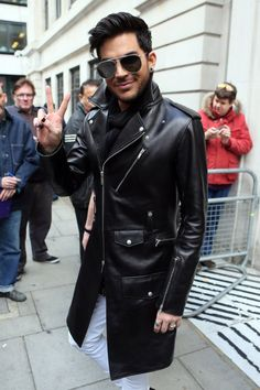 Singer Adam Lambert leaving BBC Radio Two studios after appearing on the show - London