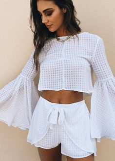 #spring #outfits Crisp Whites ✨ Outfit Goals! // White Checkerboard Crop White + Checkerboard Shorts White
