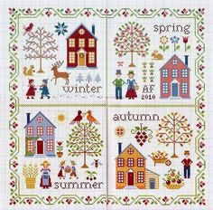 Discover thousands of images about Free cross stitch patterns. A House For All Seasons counted cross stitch charts, free cross stitch pattern. Cross Stitch House, Cross Stitch Needles, Cross Stitch Borders, Cross Stitch Samplers, Cross Stitch Charts, Cross Stitch Designs, Cross Stitching, Cross Stitch Embroidery, Embroidery Patterns