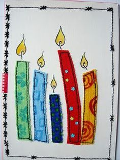 Joyeux anniversaire cher Jacques Kerzen Stoff mit Stempeln bedruckt Co… - How To Make Things Watercolor Christmas Cards, Christmas Sewing, Christmas Cards To Make, Xmas Cards, Christmas Art, Fabric Cards, Fabric Postcards, Embroidery Cards, Free Motion Embroidery