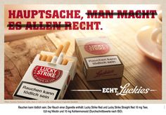 Lucky Strike Anzeige / Werbung Page Online, Advertising, Ads, Food, Smoking, Packaging, Illustration, Party, Projects