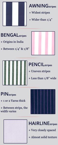 5 stripe patterns names (dress shirts. fabric pattern repeats, etc.) #terminology #chart