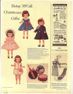 Betsy McCall Christmas Gifts - December 1957 advertisement.