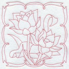 Lotus (Redwork) ..... Many more beautiful flower pairs - designs for sale.... One can also add some fabric color wash / fabric paint within if desired, like I did on the bedsheet !