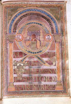 The Incipit to the Gospel of Luke, in the Harley Golden Gospels, Art Timeline, Gospel Of Luke, Carolingian, Mesoamerican, Historical Art, Medieval Art, Illuminated Manuscript, British Museum, Christianity