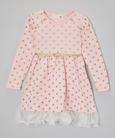 Look at this Kid Swag Pink & Gold Polka Dot Belted Dress - Toddler & Girls on #zulily today!