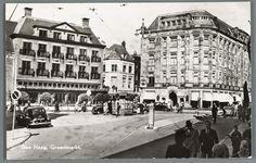 Prentbriefkaart van de Groenmarkt in Den Haag met warenhuis Maison de Bonneterie, ca. 1955