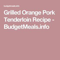 Grilled Orange Pork Tenderloin Recipe - BudgetMeals.info
