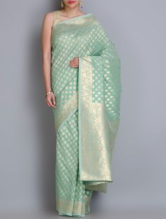 Buy Sea Green Golden Benarasi Handwoven Silk Georgette Saree with Zari Sarees Woven Online at Jaypore.com