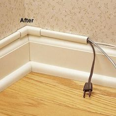 Great way to hide cords - Wiremold CordMate II Computer and Home Entertainment Cord Cover Kit, White tips-tricks-how-toos-and-just-plain-useful Home Improvement Projects, Home Projects, Home Improvements, Deco Tv, Diy Casa, Home Entertainment, Home Repair, Home Hacks, Diy Hacks