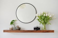 Take an IKEA lack shelf and give it a whole new look using contact paper to create a modern entryway shelf. Ikea Shelves, Shelves, Entryway Shelf, Ikea Lack Shelves, Ikea, Entryway Decor, Living Room Mirrors, Mirror With Shelf, Lack Shelf